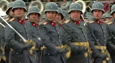 Chilean officers marching in a  military parade.