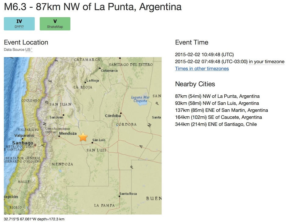 6.3 Earthquake near San Luis, Argentina, February 2015