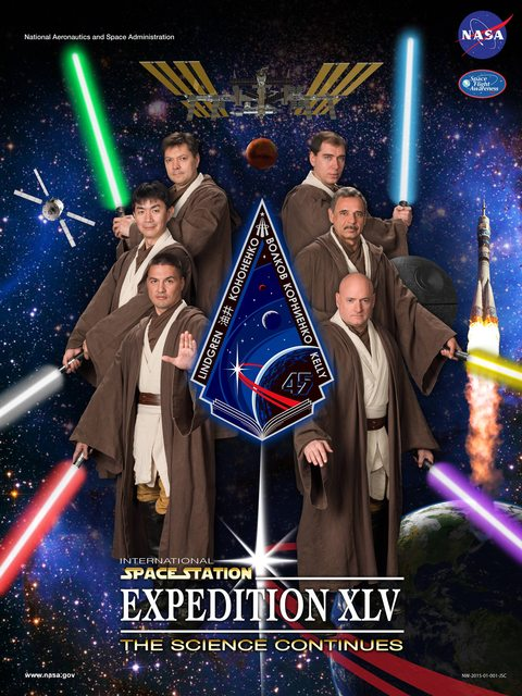 Astronauts dressed as jedi